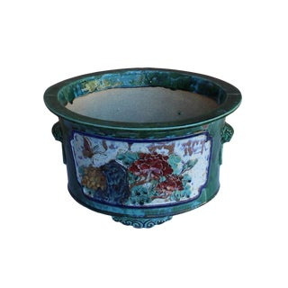 Chinese Ceramic Dimensional Flower Butterfly Round Green Glaze Planter For Sale