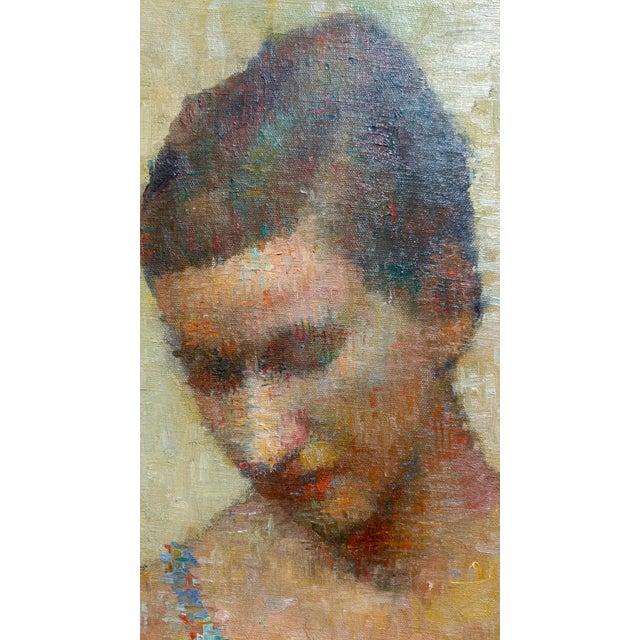 Blue Stevan Kissel - Portrait of a Female Dancer - Oil Painting - Pointillism For Sale - Image 8 of 13