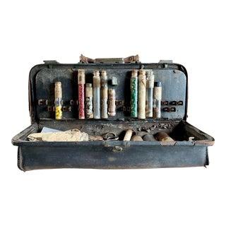 1880s Doctors Bag With Medicine Bottles & Tools For Sale