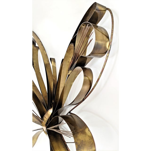 Metal Curtis Here 1974 Mid-Century Modern Brass Butterfly Wall Sculpture For Sale - Image 7 of 13