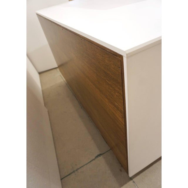 Contemporary Italian White Sideboard or Cabinet With Burgundy Wood Legs For Sale - Image 9 of 11