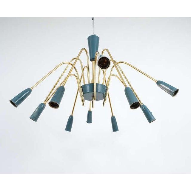 Mid-Century Modern Impressive Italian Twelve-Arm Chandelier For Sale - Image 3 of 9