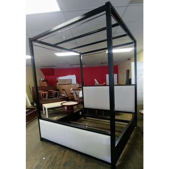 Black Mid-Century Modern Henredon Furniture Mark D. Sikes Pacific Palisades Queen Uph Canopy Bedframe For Sale - Image 8 of 8