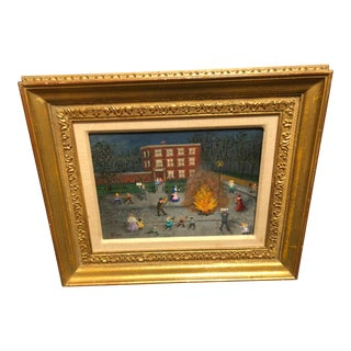 "Late 19th Century Vintage Folk Art Painting ""Bonfire Election Night 1899"" by Mollie Simon"
