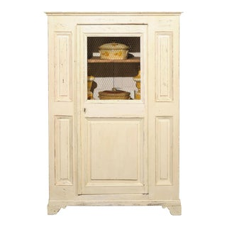 1950s Rustic White Painted Armoire