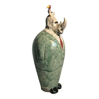 Original Mitchell Grafton Pottery Figurine of Business Rhino With a Bird For Sale