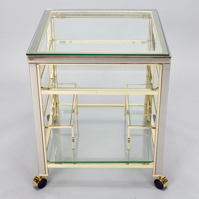 Mid-Century Modern Brass and Glass Trolley Table Gold Bar Cart - Image 3 of 4