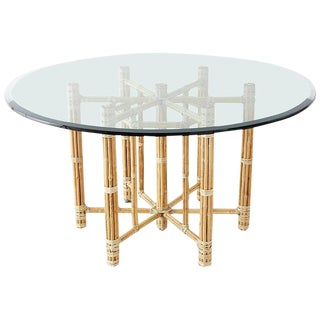 McGuire Organic Modern Blonde Bamboo Rattan Dining Table For Sale