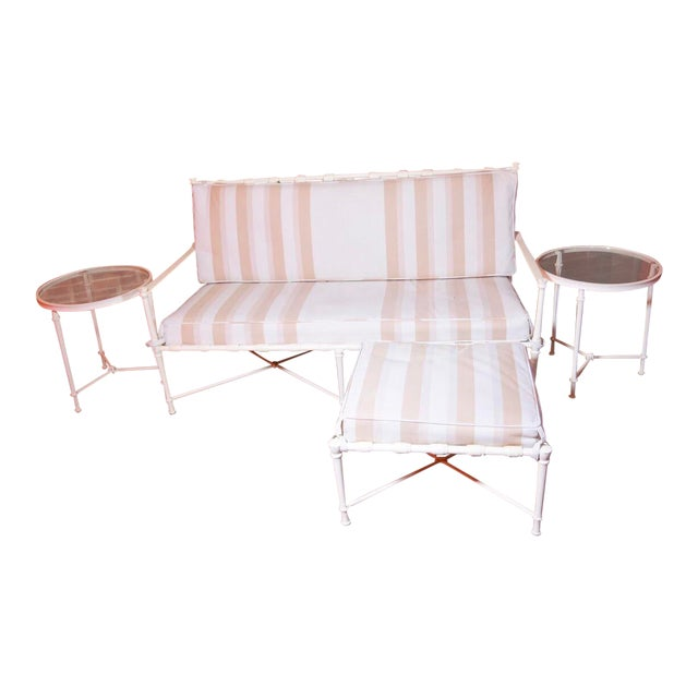 Brown Jordan Cast Metal Outdoor Settee, Ottoman & Accent Tables For Sale