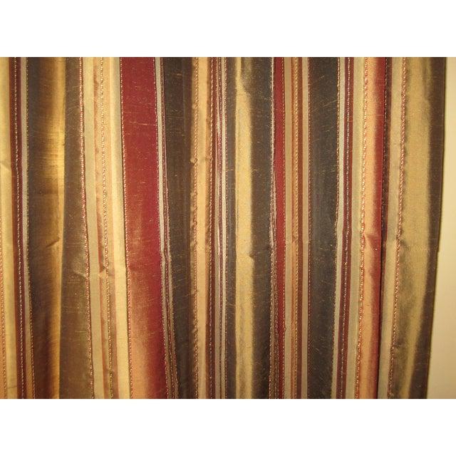 Striped Silk Drapery Panels - Image 3 of 4