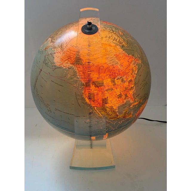 Lucite Holder and Vintage 1987 Illuminated World Globe For Sale - Image 4 of 11