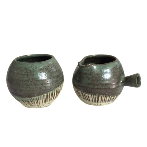 Mid-Century Pottery Art Sugar & Creamer Set - Image 1 of 6