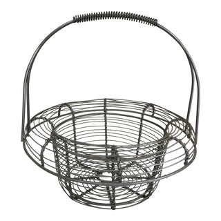 Vintage, Handled Metal Wire Onion Egg Basket For Sale