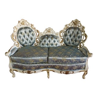 Vintage French Provincial Baroque Settee For Sale