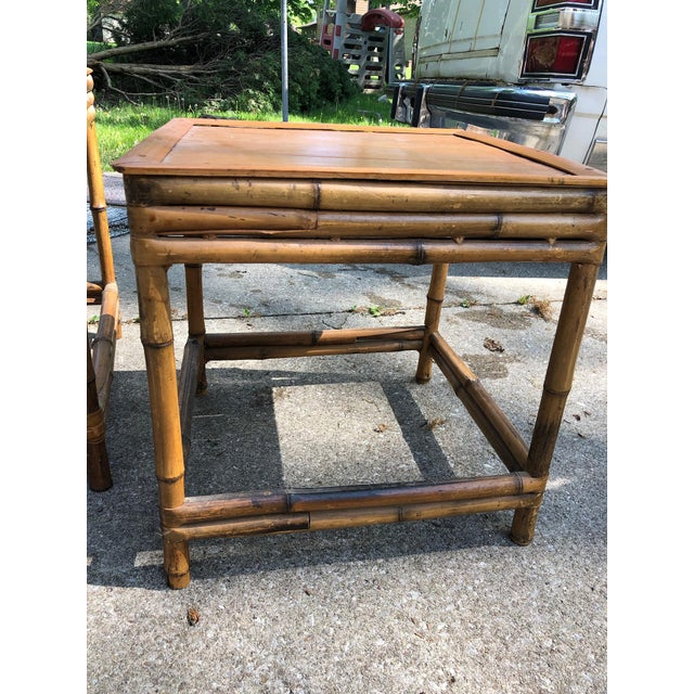 Bamboo Mid 20th Century Cali- Asian Style Bamboo Nesting Tables - a Pairt For Sale - Image 7 of 9
