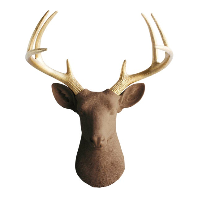 Wall Charmers Deer in Brown Chocolate + Gold Antler Faux Head Bust - Image 1 of 4