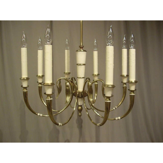 Vintage French Brass 8-Light Chandelier For Sale In New Orleans - Image 6 of 8