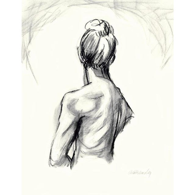 Charcoal Drawing Female Figure Back 2, Original by Kathleen Ney For Sale