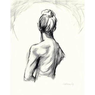 """""""Female Figure Back 2"""" Charcoal Drawing For Sale"""