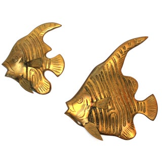 Brass Angel Fish Wall Sculpture - Pair