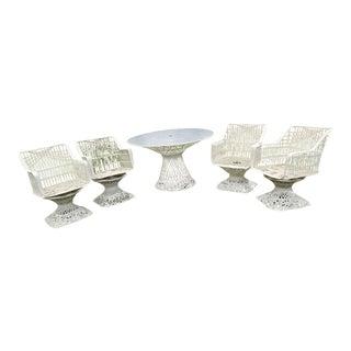 Russell Woodard Spun Fiberglass Style Table & Swivel Chairs