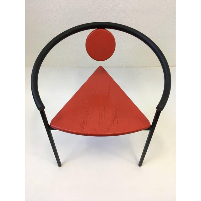 Metal Set of Four Tripod Memphis Dining Chairs in the Manner of Michele de Lucchi For Sale - Image 7 of 11