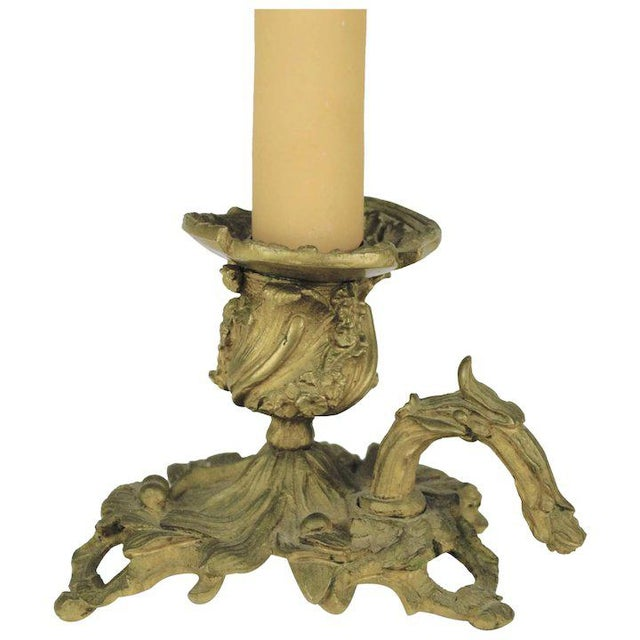 Metal Bronze Candle Holder Lamp For Sale - Image 7 of 7