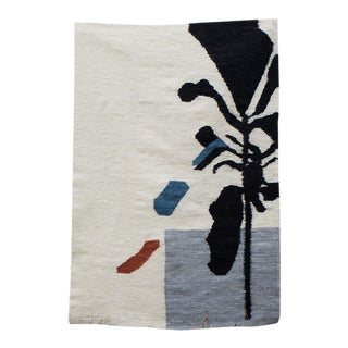 "Karu X Frances V. H. 'After The Rains' Mohair Rug In Ivory & Robin's Egg Blue - 82"" x 120"" For Sale"
