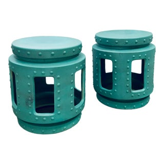 Copper Patina Throne Stools - a Pair For Sale
