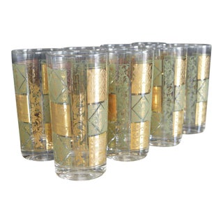 Mid Century Glided Gold Avocado Cocktail Crowns and Swans Glasses - Set of 8
