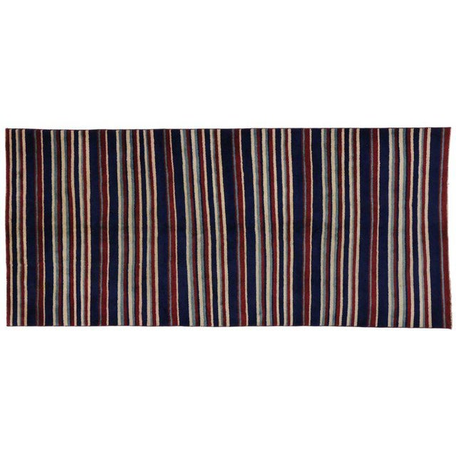 51346, Turkish Sivas rug with stripes and nautical style. Nothing says nautical like a red and blue striped rug. This...