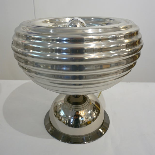 Metal Flos 1960s Castiglioni Round Silver Tone Polished Aluminum Table Lamps - a Pair For Sale - Image 7 of 13