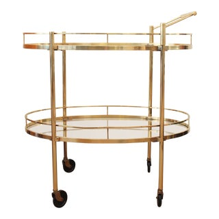 1950s Danish Modern Maxwell Phillip Brass Bar Cart