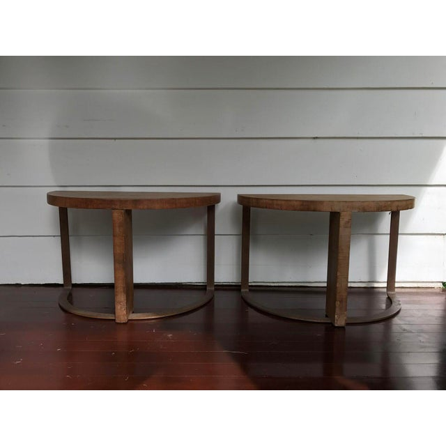 Artist Crafted Wood and Steel Demilune Side Tables - a Pair - Image 3 of 7
