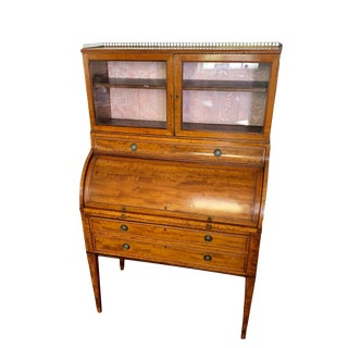 18th Century English George III Period Satinwood Cylinder Desk/Secretaire For Sale