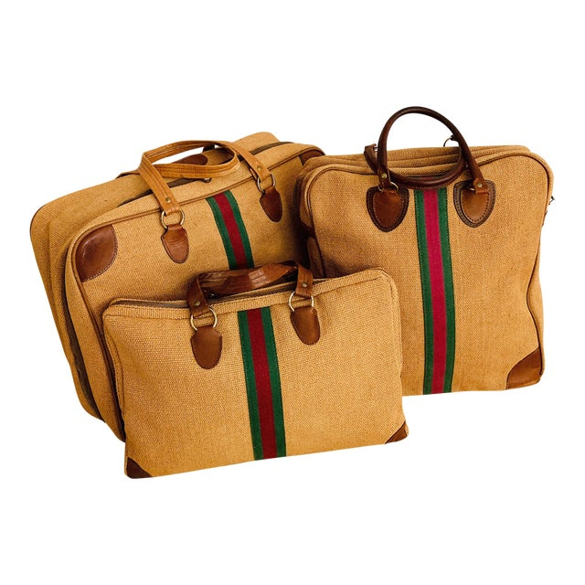 Vintage Italian Style Set of Luggage Jute and Leather, Set of 3 For Sale