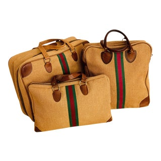 Vintage Italian Style Travel Set of 3 Luggage Jute and Leather, the 3 Pieces For Sale