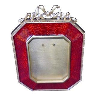 Vivian Alexander Red Enamel Bow Picture Frame For Sale