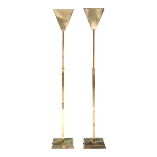 Mid Century Modern Hollywood Regency Brass Lamps - a Pair For Sale