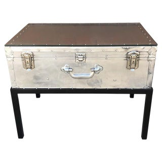 Japanese Post War Aluminum Riveted Trunk on Iron Stand With Glass Top, Restored For Sale