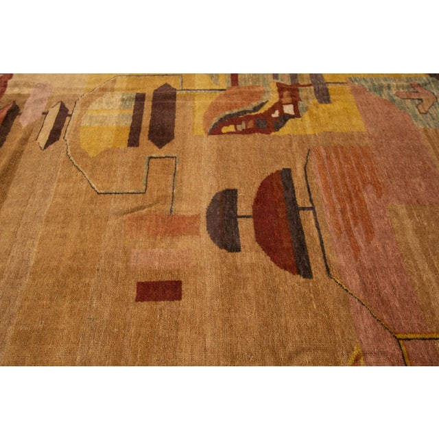Vintage Art Deco Style Square Wool Rug For Sale - Image 9 of 13
