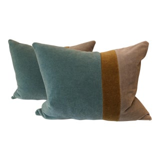 Color Blocked Mohair Pillows - A Pair
