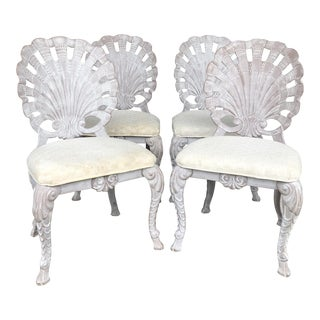 Vintage Grotto Shell Back Chairs- Set of 4 For Sale