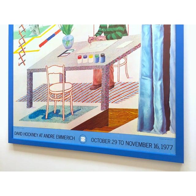 "David Hockney Vintage 1977 Lithograph Print Framed Pop Art Exhibition Poster "" Self Portrait With Blue Guitar "" For Sale - Image 11 of 13"