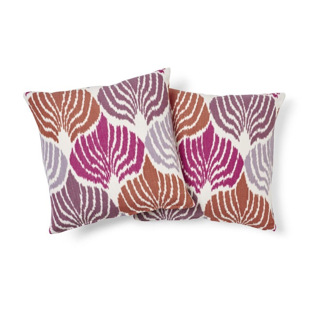 Boho Chic Schumacher Kimono Ikat Pillow in Berry For Sale - Image 3 of 6