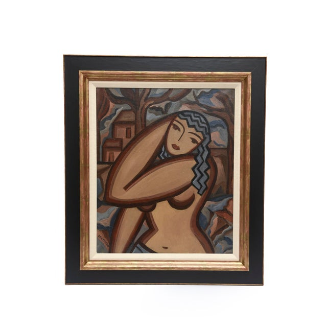 Signed French Suzanne Bertillon Art Deco Oil On Canvas Custom Framed Painting For Sale - Image 11 of 11