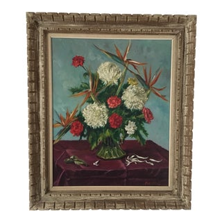 Still Life Flowers With Burgundy Cloth Painting by Ben Wilks For Sale