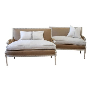 Painted and Upholstered Vintage Louis XVI Style Settees For Sale