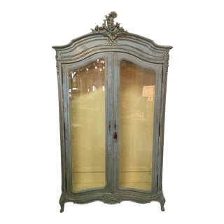 19th Century French Blue Armoire With Beveled Glass Doors For Sale