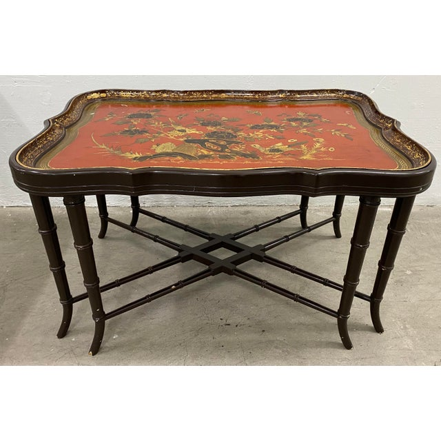 19th Century Papier Mache English Chinoiserie Tray Table Beautiful antique tray table with removable tray on a custom...